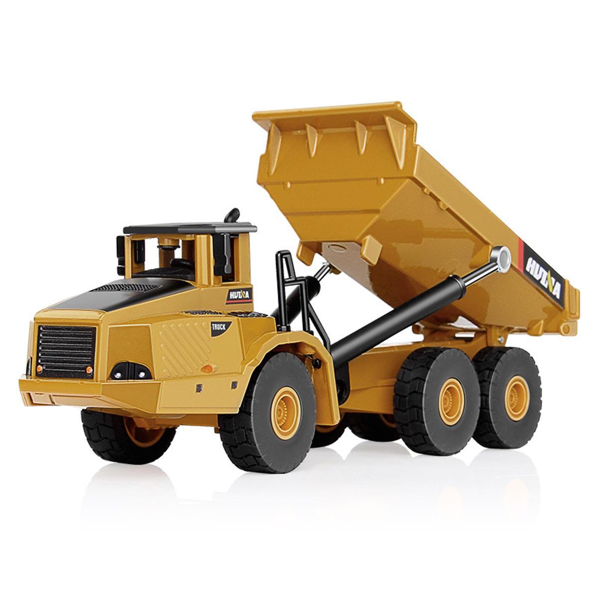 HUINA 7713-1 1/50 Escala Liga Caminhão Basculante Hidráulico Diecast Modelo de Engenharia de Escavação Brinquedos