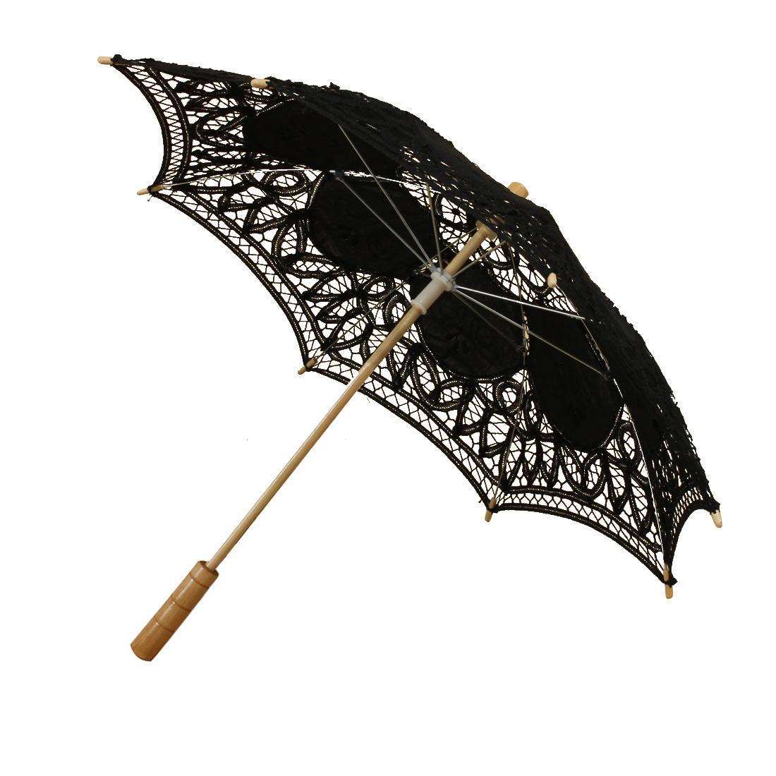 Encaje de algodón hecho a mano paraguas parasol y de la mano del ventilador decoración de la boda del partido
