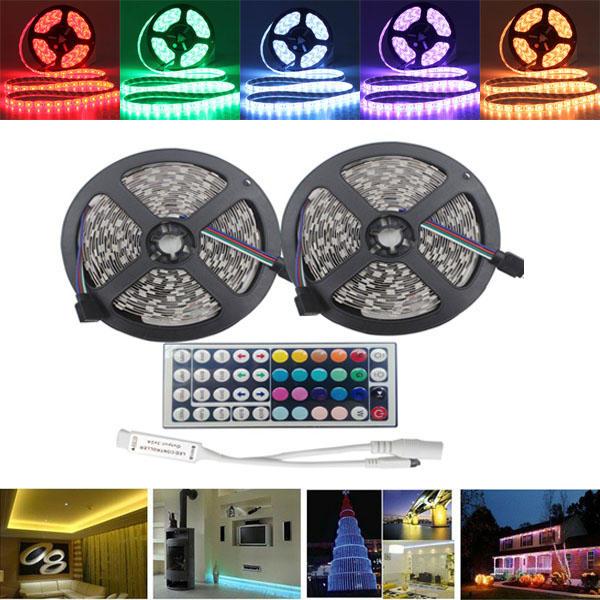10M SMD5050 Waterproof RGB 600 LED Strip Flexible Rope Tape Light Kit + 44 Keys IR Controller DC12V