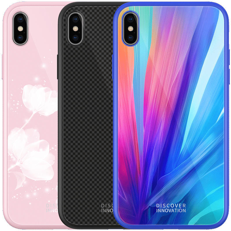NILLKIN Colorful Shockproof Tempered Glass + Soft TPU Back Cover Protective Case for iPhone X