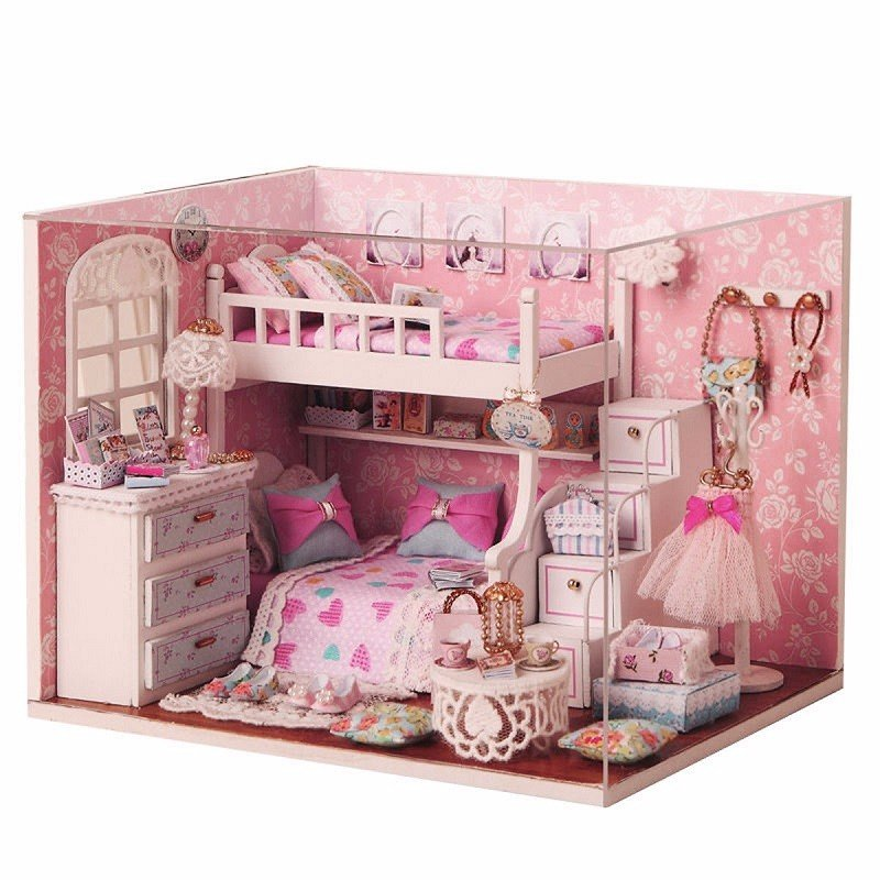 Cuteroom Diy Wood Dollhouse Kit Miniature With Furniture Doll House