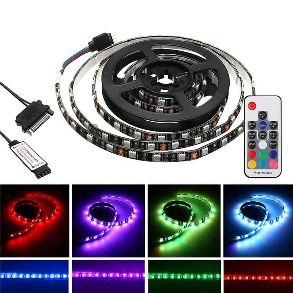 1.5M 2M IP20 15ピンSATA磁気RGB LEDストリップライトキット+ 17Keys PCケースDC12V用リモートコントロール