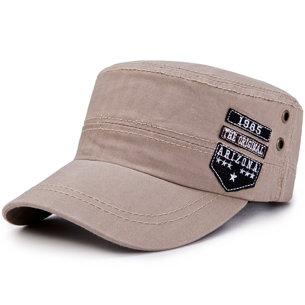 94b6bb4a945 1   7. Herre Sommer Patchwork Justerbar Flat Top Cap Solid Brim Army Cadet  Style Military Hats Khaki