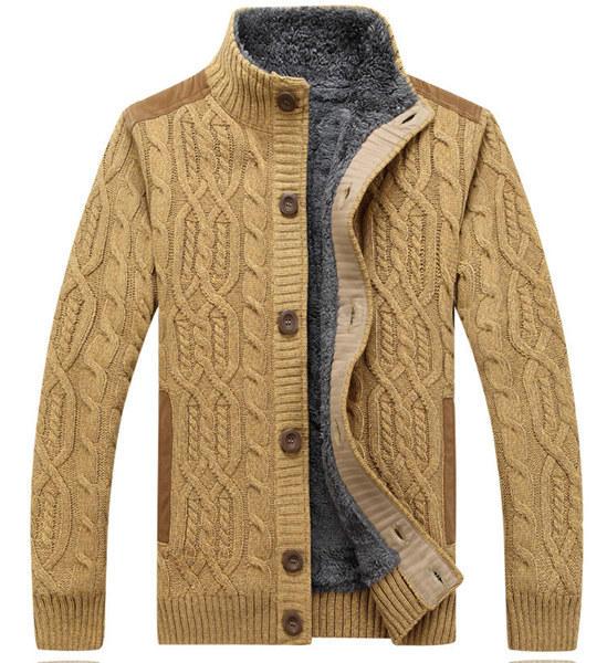 Hombre más caliente grueso suéter del collar del soporte de la rebeca de punto abrigo de terciopelo