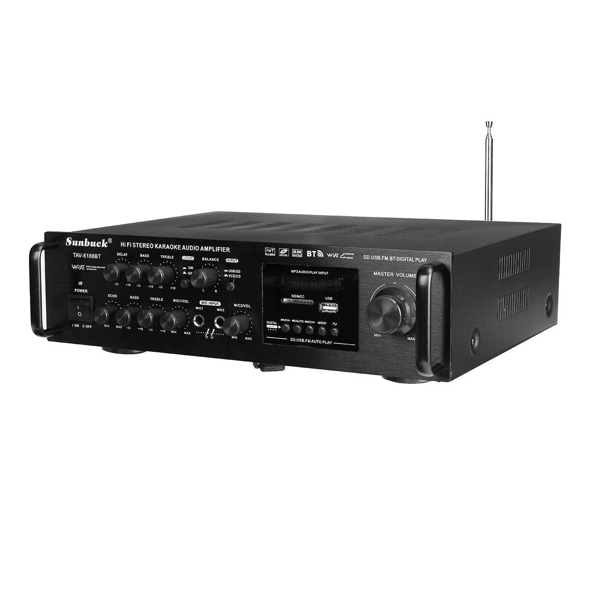 Sunbuck TAV-6188BT 2000W 4ohm Setero Bluetooth FM Karaoke Amplificatore RC Supporto 2 Microfono