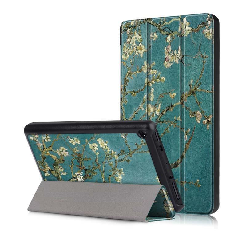 Tri Fold Pringting Tablet Caso Capa para o novo F ire HD 7 2019 Apricot blossom