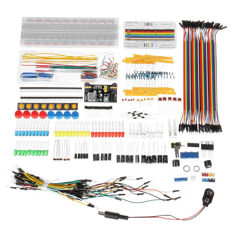 Super Kit de composants électroniques avec le fil de Dupont de résistance de module d'alimentation pour Arduino avec le paquet de boîte en plastique