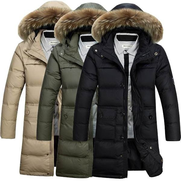 514ab87948da mens warm down parka stand collar solid color fur hooded long white duck  down coat at Banggood sold out
