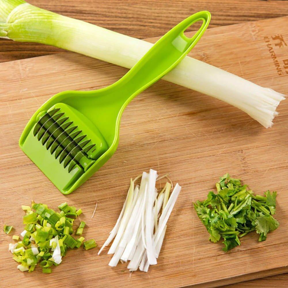 KCASA KC-MS06 Paslanmaz Çelik Yeşil Soğan Dilimleyici Sebze Sarımsaklı Kesici Parçalayıcı Mutfak Aletler