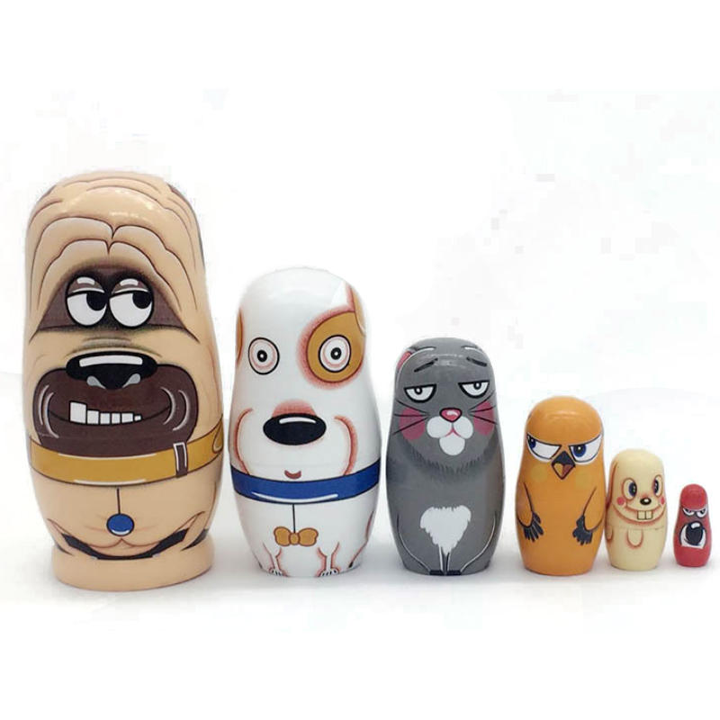 Toys & Hobbies Dolls & Stuffed Toys Alert 5pcs Russian Matryoshka Dolls Bear Ear Nesting Dolls Wooden Toy Cllection Ornaments For Home Decor Baby Creative Educationl Toy High Resilience