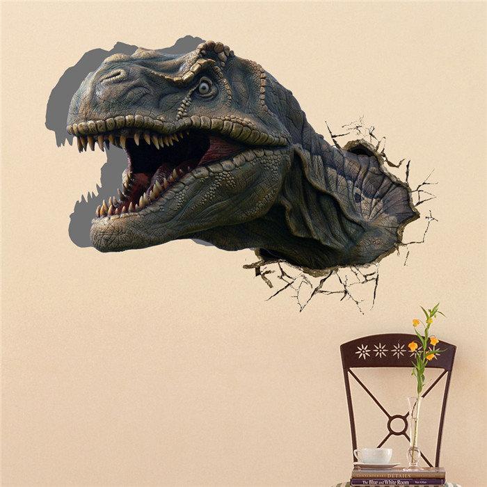 Dinosauro 3d muro decalcomanie pag animale smontabile adesivi buco della parete della casa dinosauro regalo decorazione