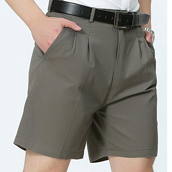 Mid Aged Mens Business Casual Golf Shorts Été Cotton Longueur à genoux Long Shorts Pantalons