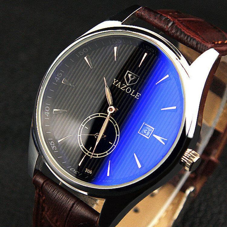 YAZOLE 306 Мужские кварцевые часы с ремешком из кожи