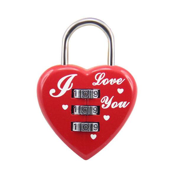 Heart Shaped 3 Digit Travel Luggage Padlock Resettable Combination Lock for School GymSports Locker Luggage Suitcase Baggage Locks