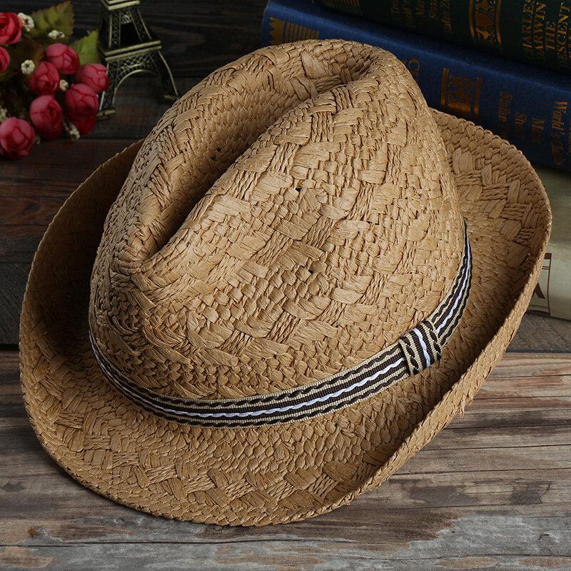 Mens Outdoor Handmade Woven Straw Jazz Hat Sun Protection Short Brimmed  Fedora Cap Visor COD 175ca5b5846