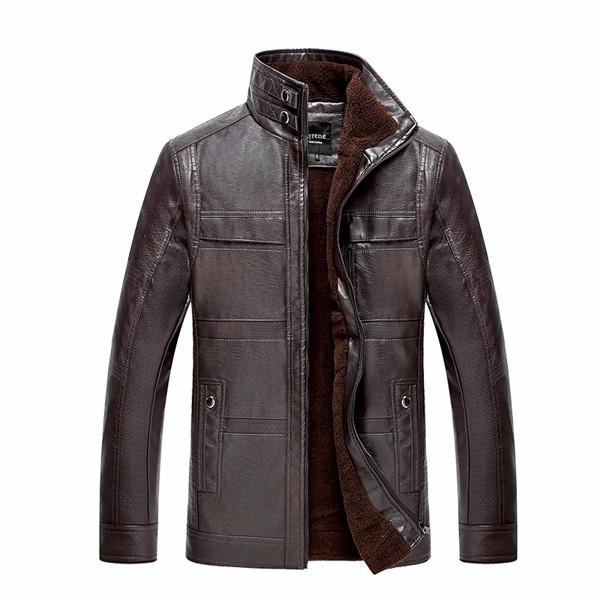 Mens PU Leather Jacket Stand Collar Veludo Thicker quente inverno casaco Outwear Tamanho XS-3XL
