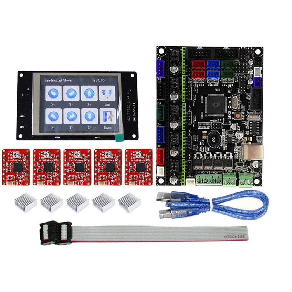 TFT32 كامل اللون شاشة lcd لمس شاشة + MKS-GEN L مع 5Pcs أحمر A4988 سائق 3D وحدة تحكم الطابعة المجلس