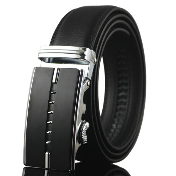 Men Business Ceinture en cuir véritable Casual Metal Automatic Buckle Strap Jeans Cowboy