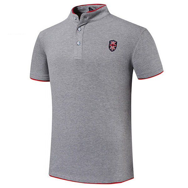7 Colors Mens Casual Embroidery Solid Color Stand Collar Button Golf Shirt