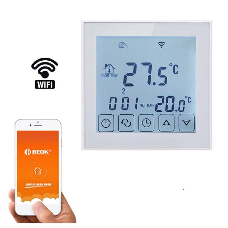 WIFI Smart Large Touch Screen Programmable Electric Heating Thermostat Carbon Crystal Wall Warm Thermostat  Remote Control