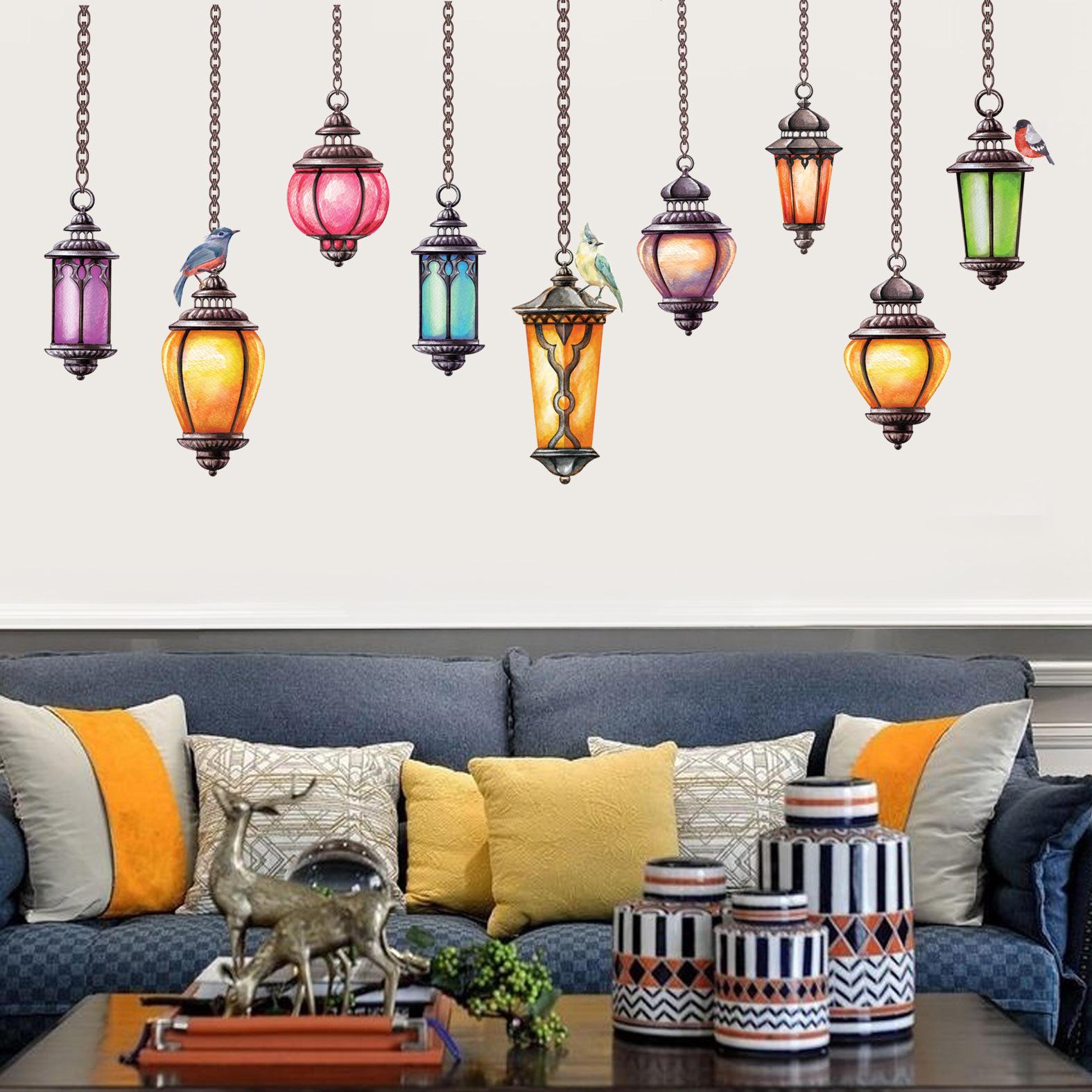 Miico 크리 에이 티브 다채로운 Exotica 천장 램프 PVC 이동식 홈 룸 장식 벽 문 장식 스티커