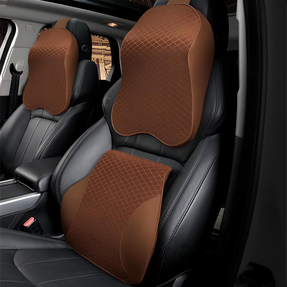 Memory Foam Car Headrest Pillow Seat Back Cushion Breathable Neck Waist Rest Support