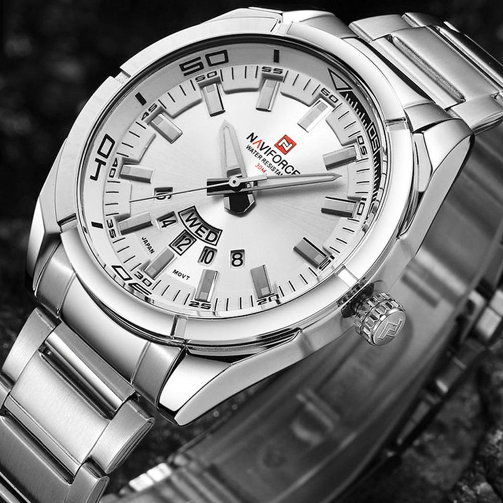 NAVIFORCE 9038 Imperméable Calendrier Hommes Montre-Bracelet Plein Acier Horloge Quartz Montres