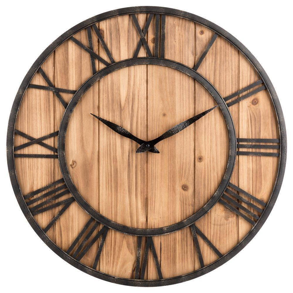 Loskii Kreatif Putaran Diam Jam Dinding Kayu Jam Dekoratif untuk Ruang Tamu  Rumah Dekorasi 7401ae39aa