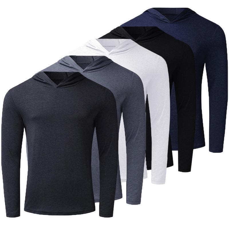 Men's Long Sleeve Lightweight Hoodies Pullover Sweatshirts Tee Shirts Cotton Sports Shirts Tracksuit