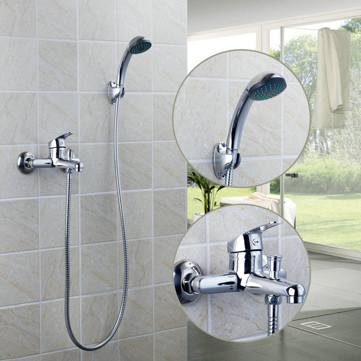 Chrome Wall Mounted Bathroom Bathtub Shower Faucet Set Mixer With