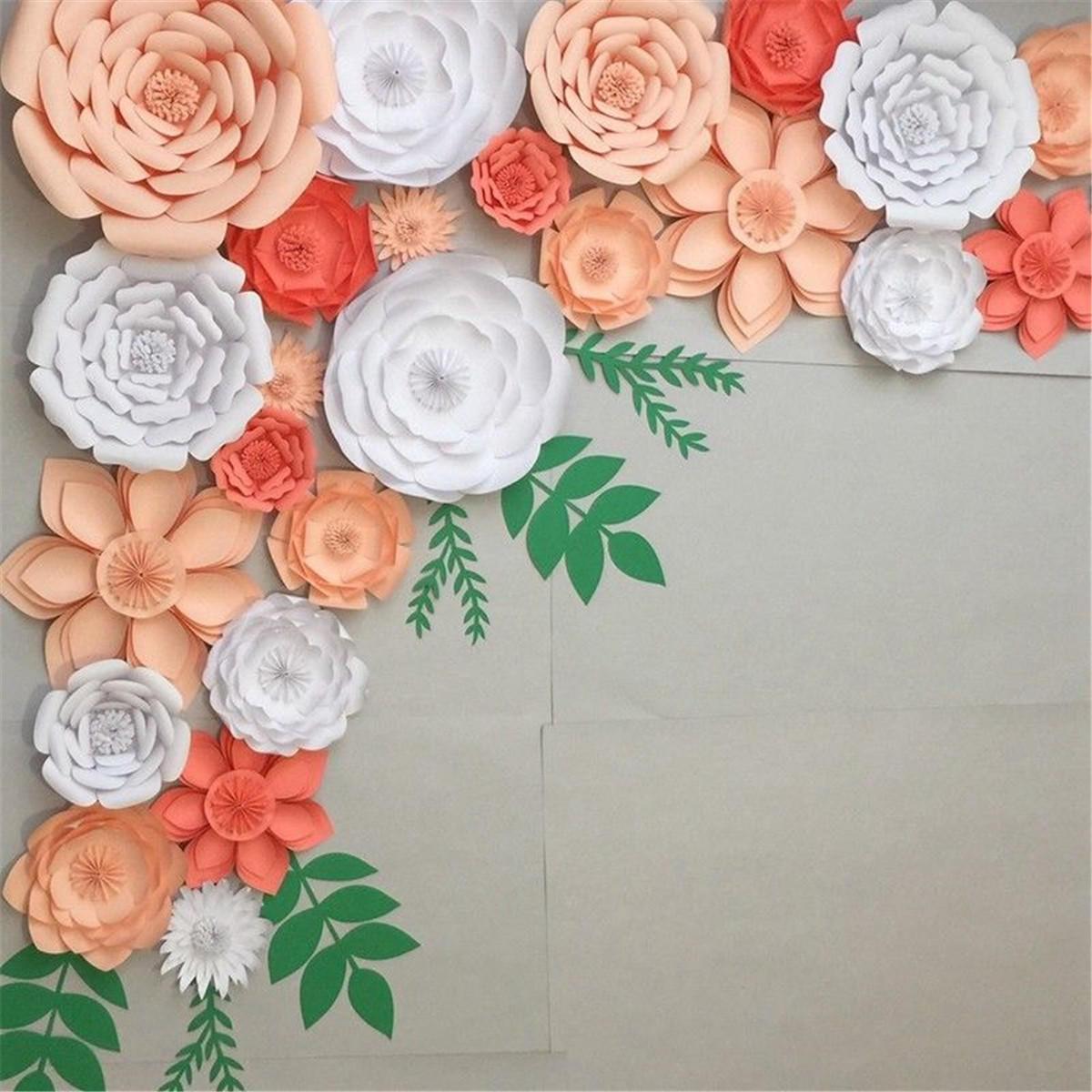 30cm diy paper flowers leaves backdrop decorations kid birthday rh banggood com