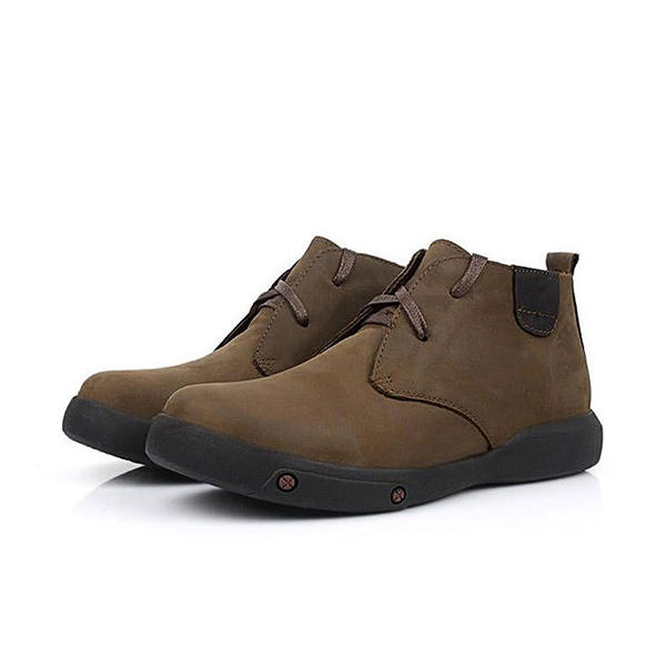Men Comfortable Split Leather Fur Lining Wear Resistance Outsole Ankle Boots