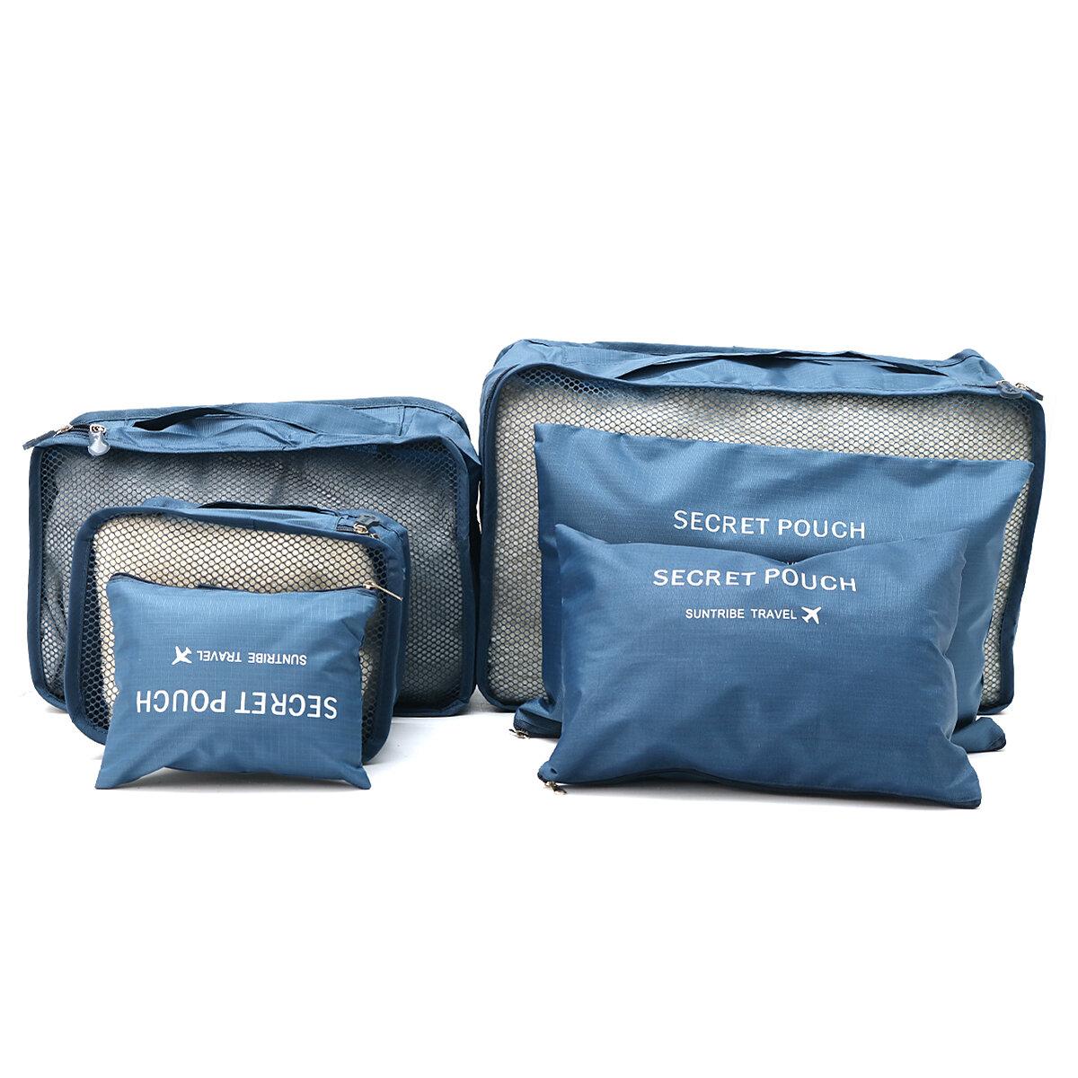 IPRee ™ 6Pcs Travel Sac de rangement portatif Ensemble de vêtements Emballage Porte-bagages Sacoche imperméable