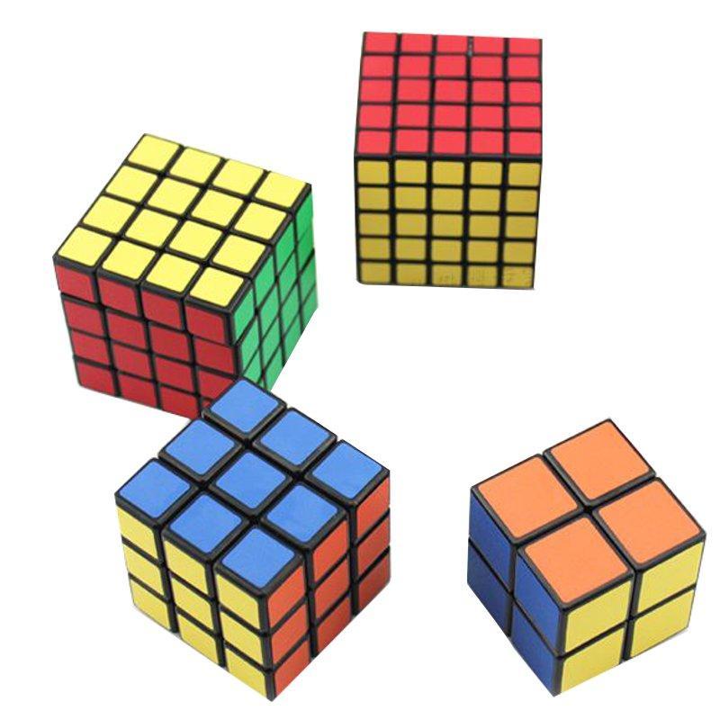 4PCS Classic มายากล Cube ชุดของเล่น 2x2x2 และ 3x3x3 4x4x4 และ 5x5x5 สติกเกอร์สติ๊ก PVC ความเร็วของบล็อก Puzzle Cube