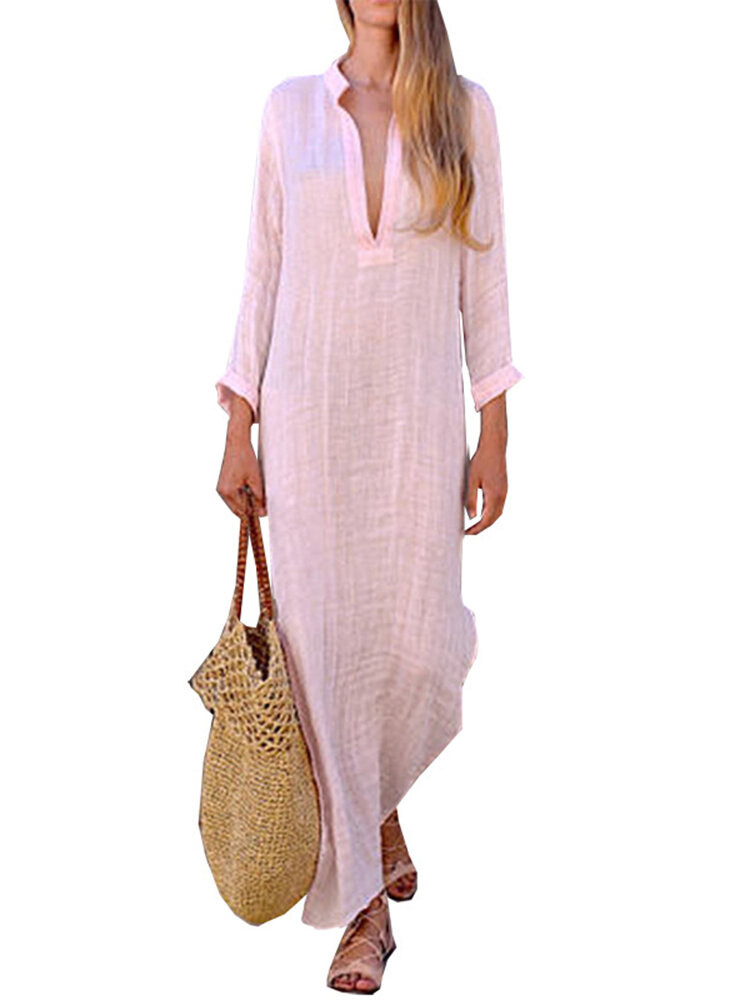 Plus Size Casual Deep V-neck Long Sleeve Pockets Maxi Dress For Women