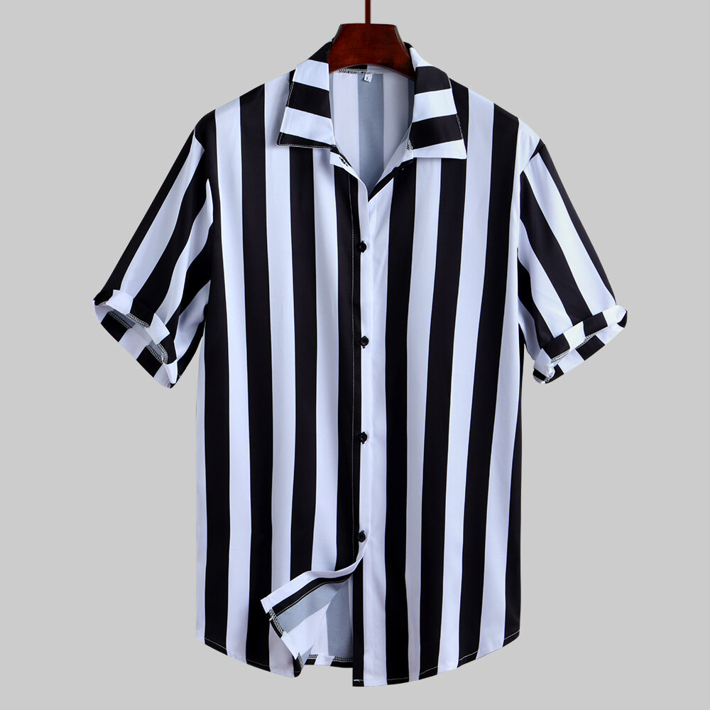 Mens Fashion Black White Stripe Buttons Fly Short Sleeve Casual Shirts