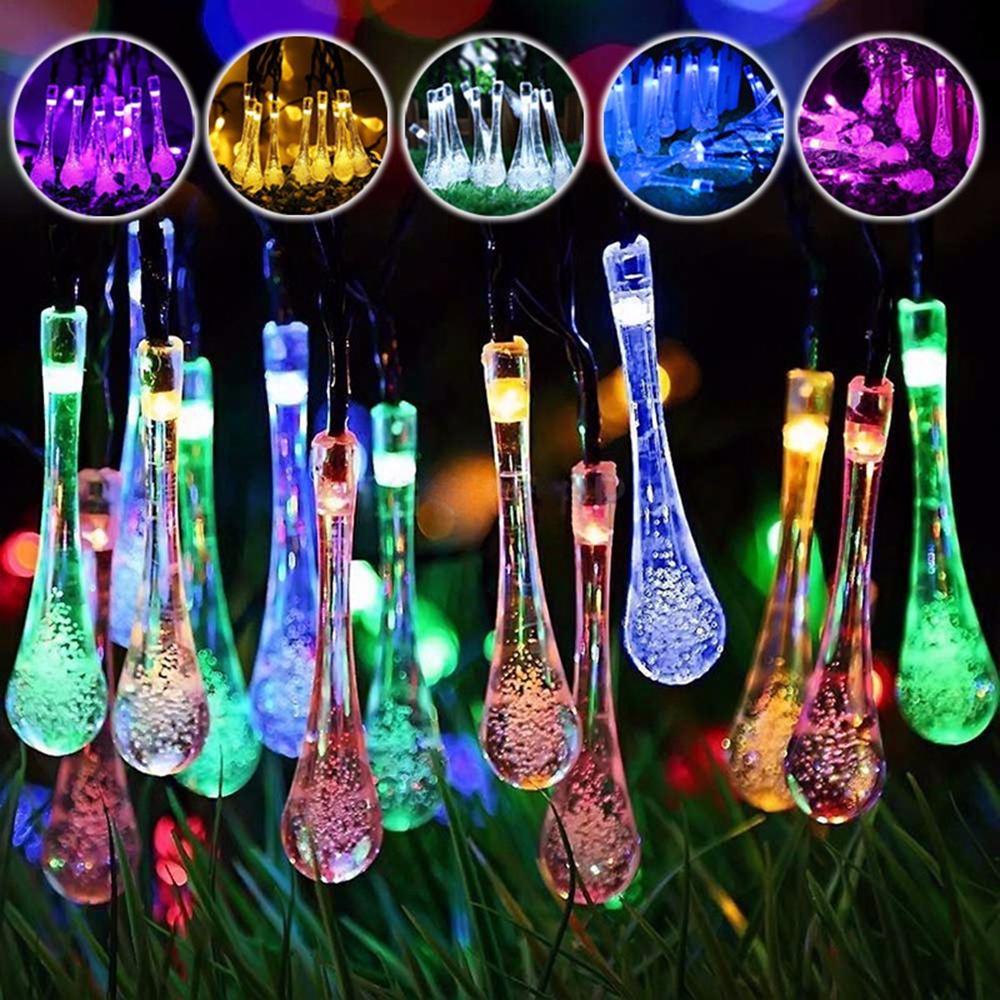 Solar Powered al aire libre 50 LED Droplet Fairy String Light Boda Fiesta de Navidad Decoración del hogar Lámpara DC3V