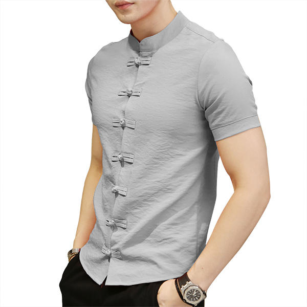 Chinese Knot Buckle Vintage Chic Mandarin Collar Short Sleeve Pure Color  Shirts for Men COD f4a36afb8