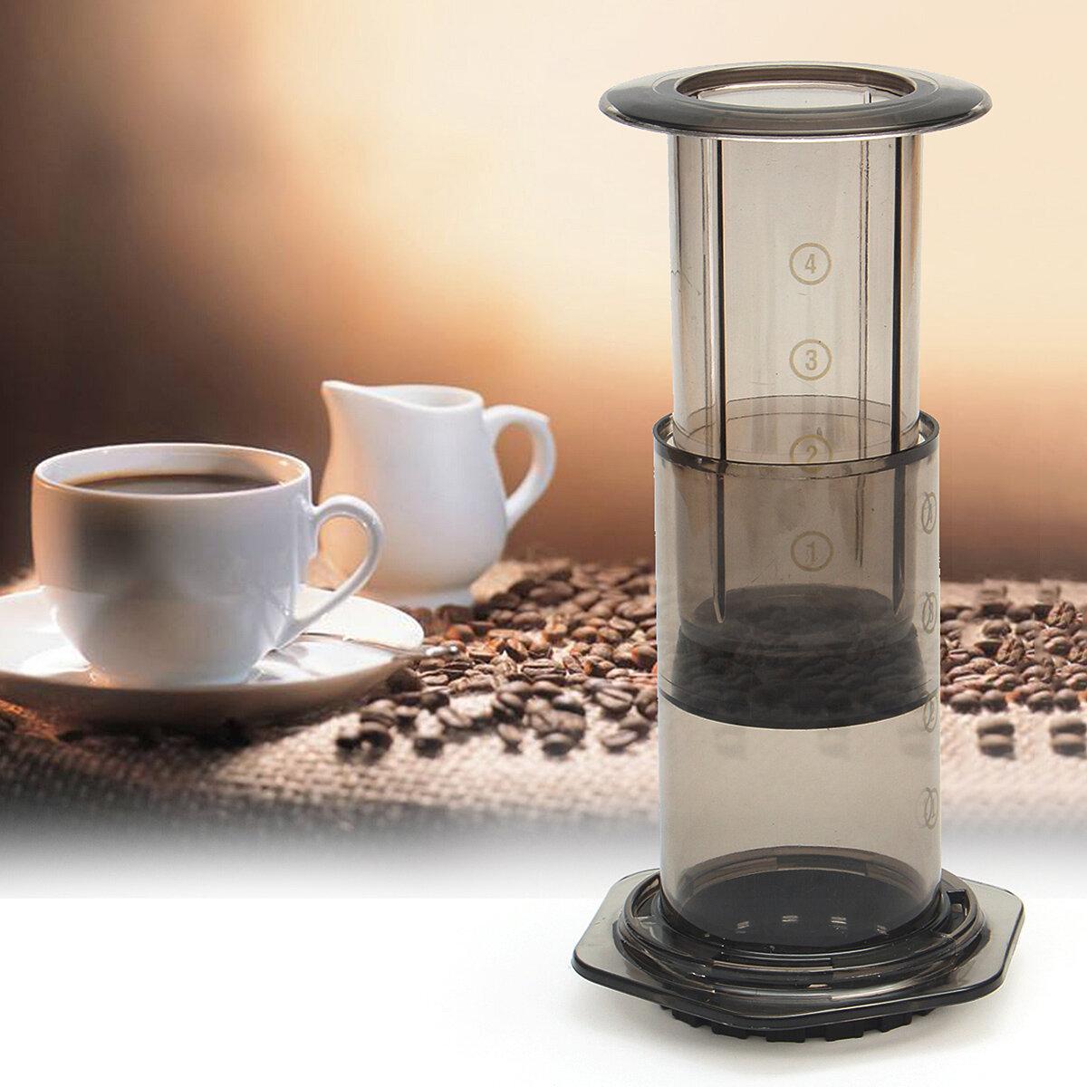 เครื่องกรองแบบพกพาเครื่องชงกาแฟหม้อ Hand Pressure Machine เครื่องกรองกระดาษฟรี