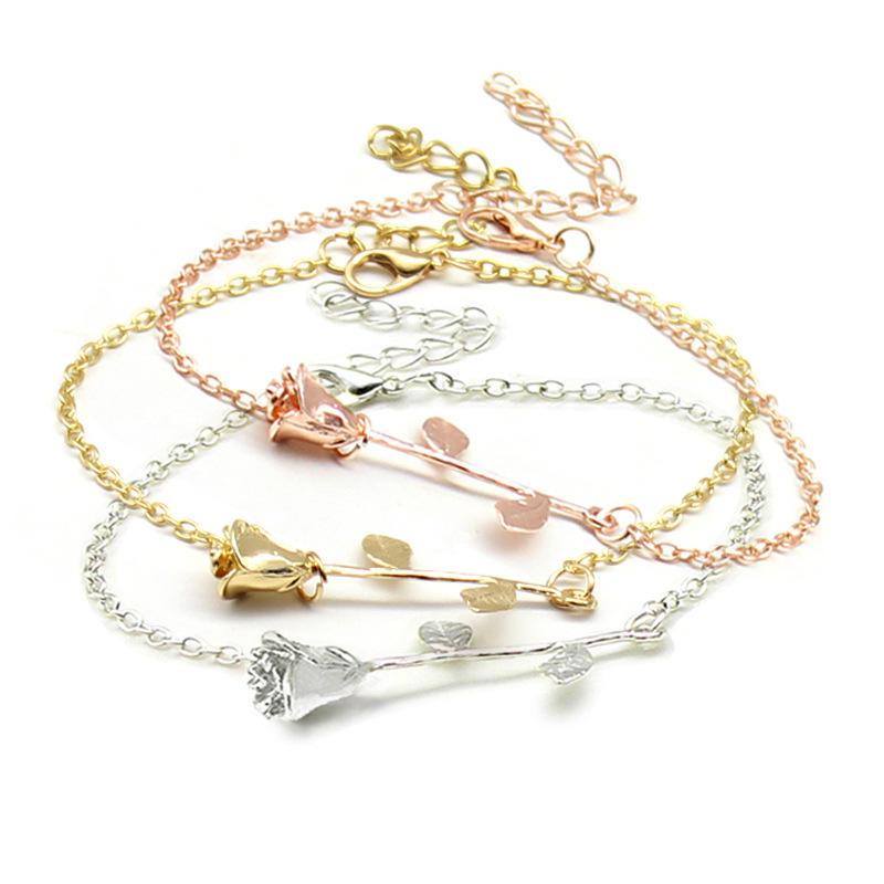 Trendy Rose Gold Silver Plated Flower Chain Bracelets for Women