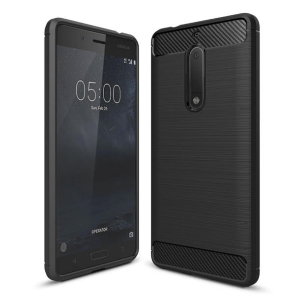 Shockproof Hybrid Fiber Brushed Soft Gel TPU Rubber Case Cover For Nokia 6