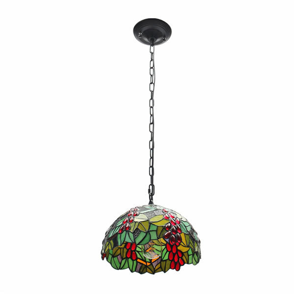 E27 Vintage Tiffany Style Pendant Light Stained Glass Iron Hanging Chain Ceiling Lamp Ac110 265v