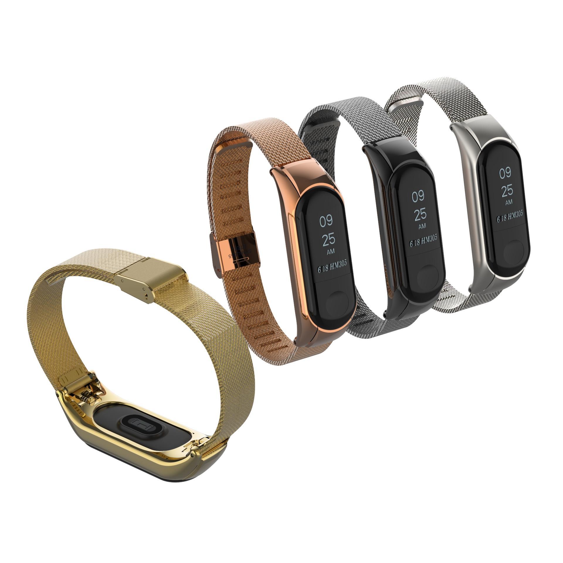 Bakeey Métal Acier Inoxydable Bande Sans Vis de Replacement de Bracelet pour Xiaomi Mi Band 3