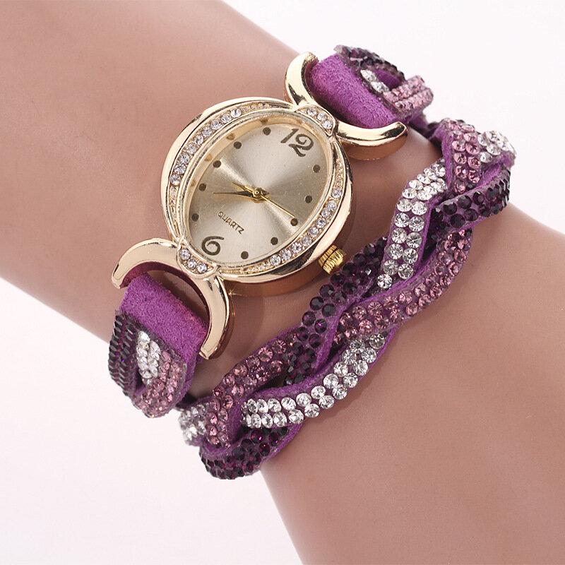 DUOYA D014 Rhinestones Elegant Ladies Watch Leather Strap Bracelet Watches