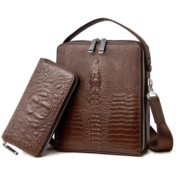 Mannen Genuine Leather Multi-Function Schoudertas Zakelijke Krokodil Handtas Aktetas