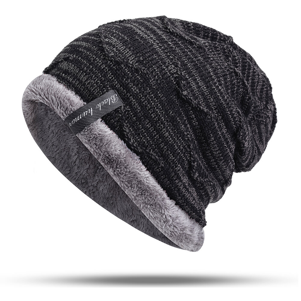 b6067394656 Mens Plus Velvet Knitted Stripe Beanie Hats Outdoor Winter Warm Skullcap  Beanies COD