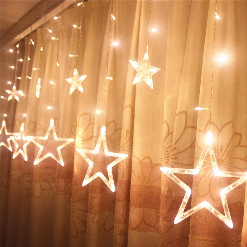 Honana HT - 336 220V LED 가벼운 문자열 별 모양 커튼 라이트 홈 장식 축하 축제 웨딩