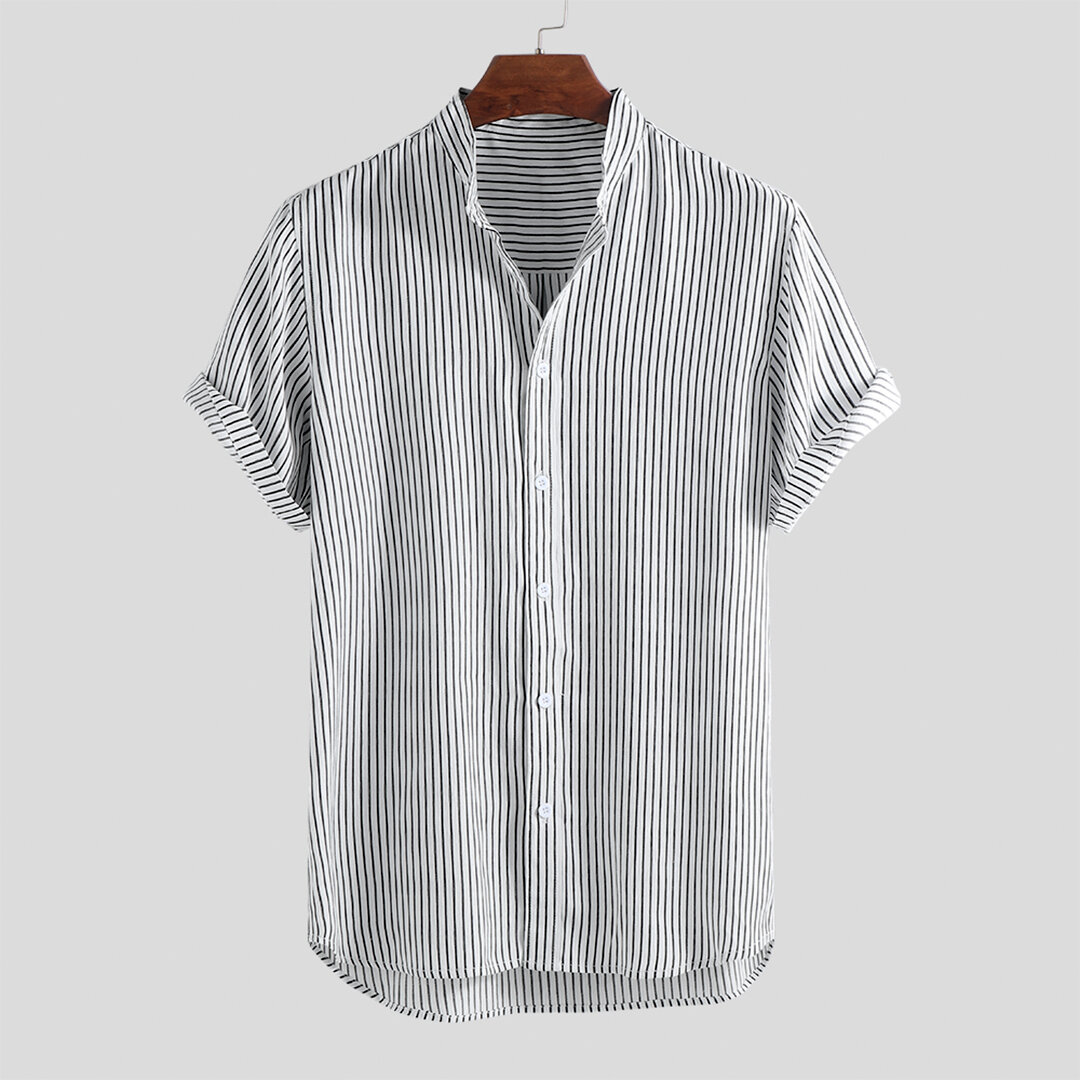 fd92b070726 Mens Striped Stand Collar Short Sleeve Round Hem Casual Loose Shirts -  Black L COD