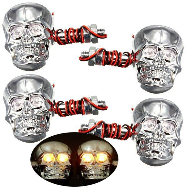 Luz indicadora de la cabeza del cráneo del intermitente 0.5W esqueleto motocicleta 4pcs 12v