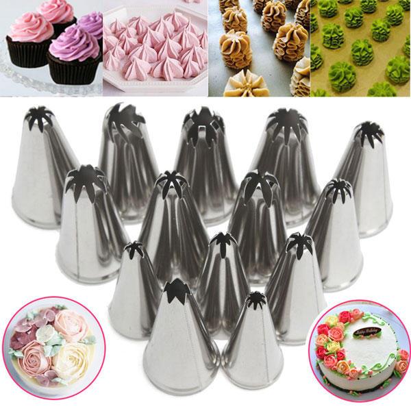 14 조각 스테인리스 꽃 Icing 파이프 노즐 케이크 제빵 액세서리 장식 도구를 베이킹